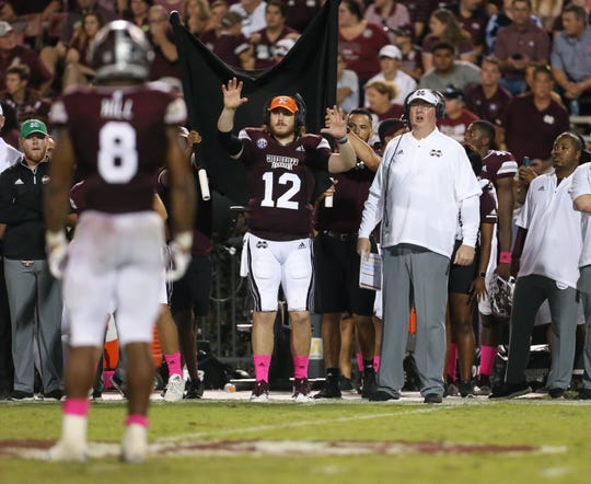 Mississippi State head coach Joe Moorhead calls a play in the second half. Mississippi State and Auburn played in an SEC college football game on Saturday, October 6, 2018, in Starkville. Photo by Keith Warren/Madatory Photo Credit