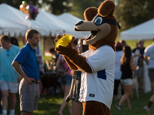 Homer, a Smokies Baseball mascot catches a frisbee at Bark in the Park After Dark at Lakeshore Park on Saturday, October 6, 2018.