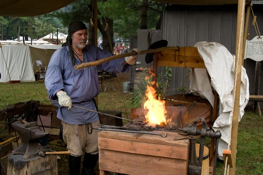 Blacksmiths demonstrate their skills at the 2018 Feast of the Hunters' Moon.