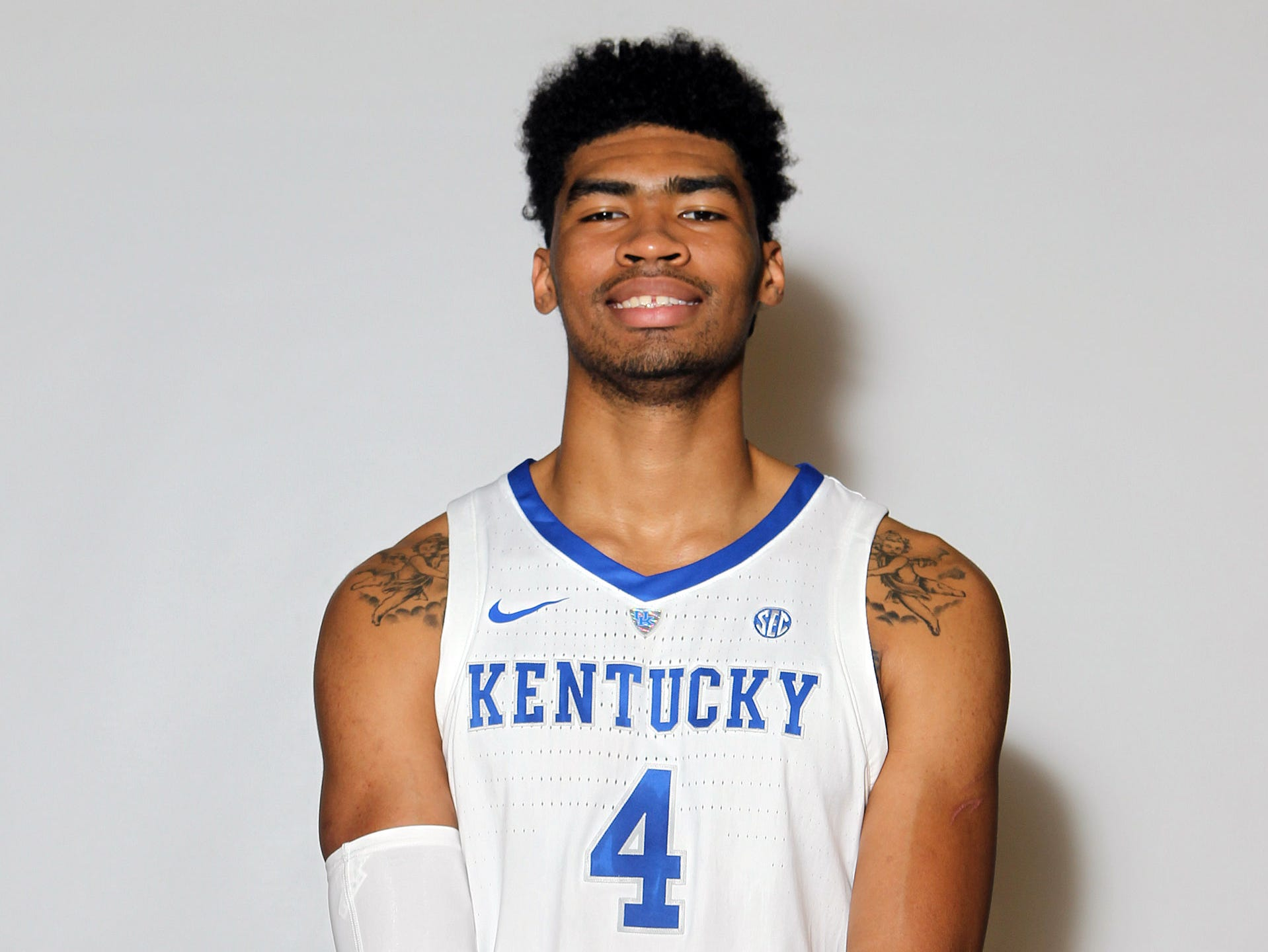Kentucky's Nick Richards (4) poses during the teams picture day in Memorial Coliseum on campus. Sep. 20, 2018