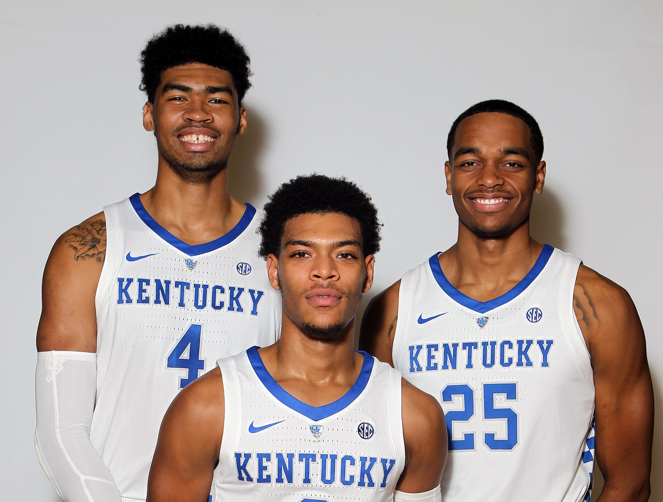Players returning to the Kentucky lineup include Nick Richards (4), Quade Green and PJ Washington (25) during the teams picture day in Memorial Coliseum on campus. Sep. 20, 2018