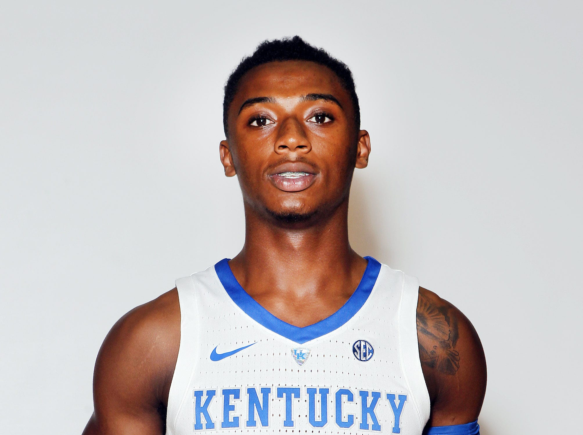 Kentucky's Ashton Hagans poses during the teams picture day in Memorial Coliseum on campus. Sep. 20, 2018