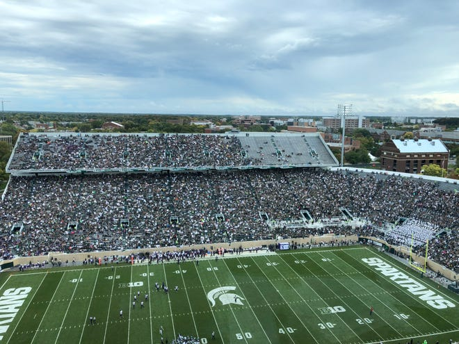 Spartan Stadium was mostly full Saturday, despite the morning weather, other than one glaring bare area – the upper deck of the Student Section.