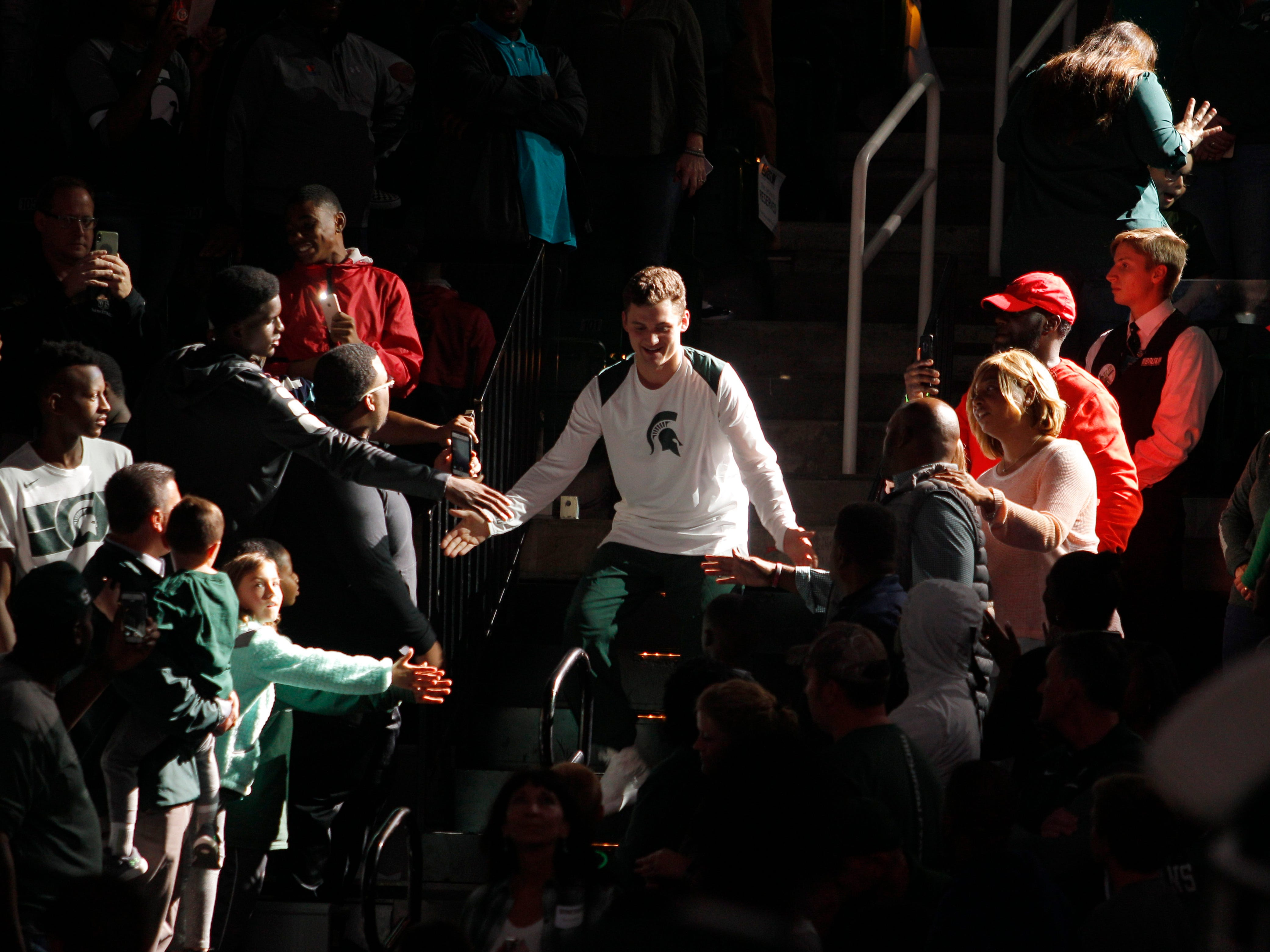 Michigan State's Foster Loyer is introduced at MSU Madness, Friday, Oct. 5, 2018, in East Lansing, Mich.