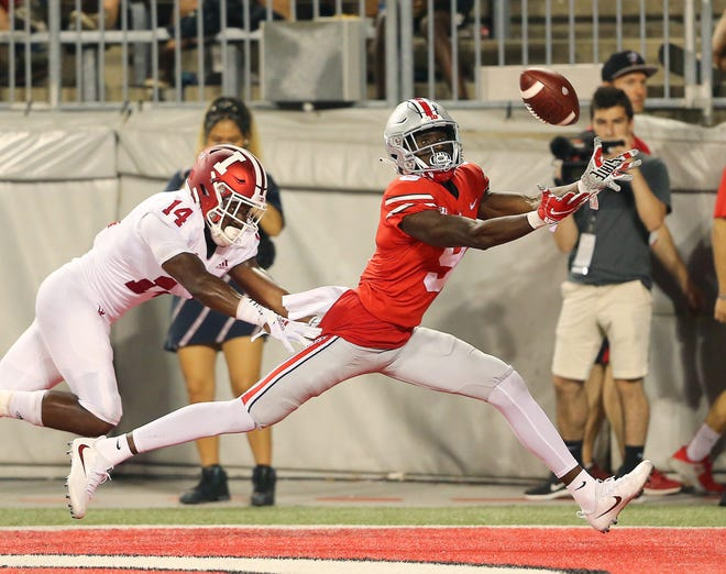 Ohio State receiver Ben Victor, a hero in the win over Penn State, catches one of Dwayne Haskins' six touchdown passes Saturday against Indiana.
