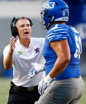 Memphis coach Mike Norvell during action against UConn on Saturday.