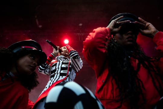 Singer Janelle Monae performs at the 2018 MEMPHO Music Festival  at Shelby Farms Park  Saturday, October 6, 2018, in Memphis.