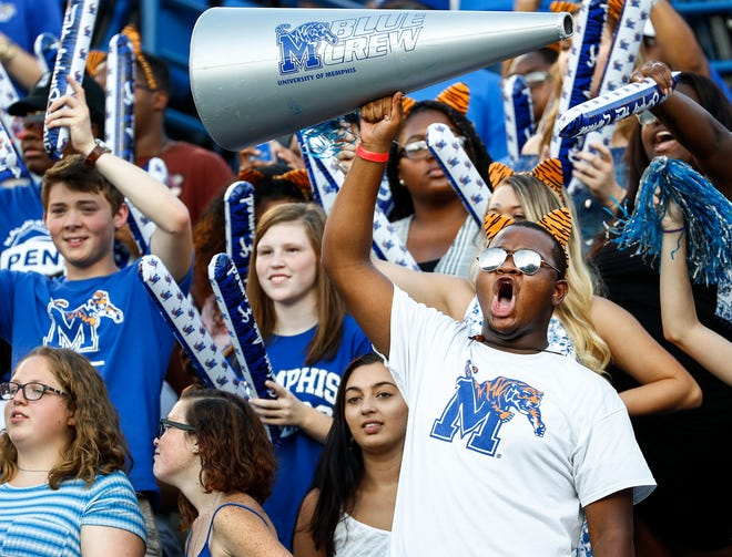 Memphis fans cheer on the players as they take on UConn in Memphis, Tenn., Saturday, October 6, 2018.