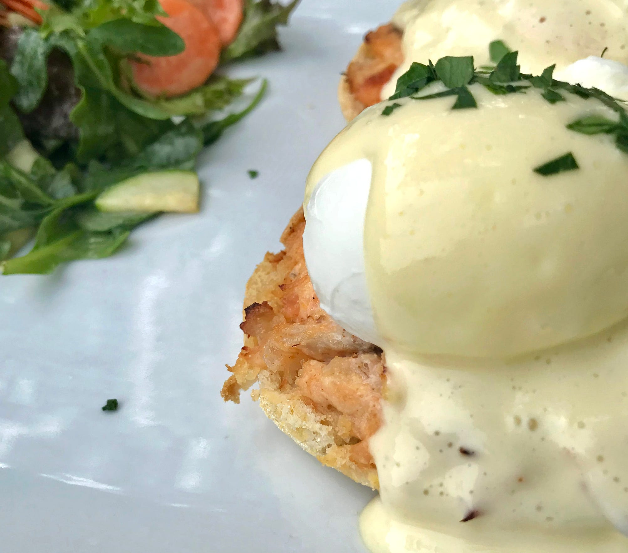Smoked-salmon Benedict,  made with cakes of house-smoked salmon rillettes, is a weekend brunch dish at Engine Company No. 3, 217 W. National Ave.