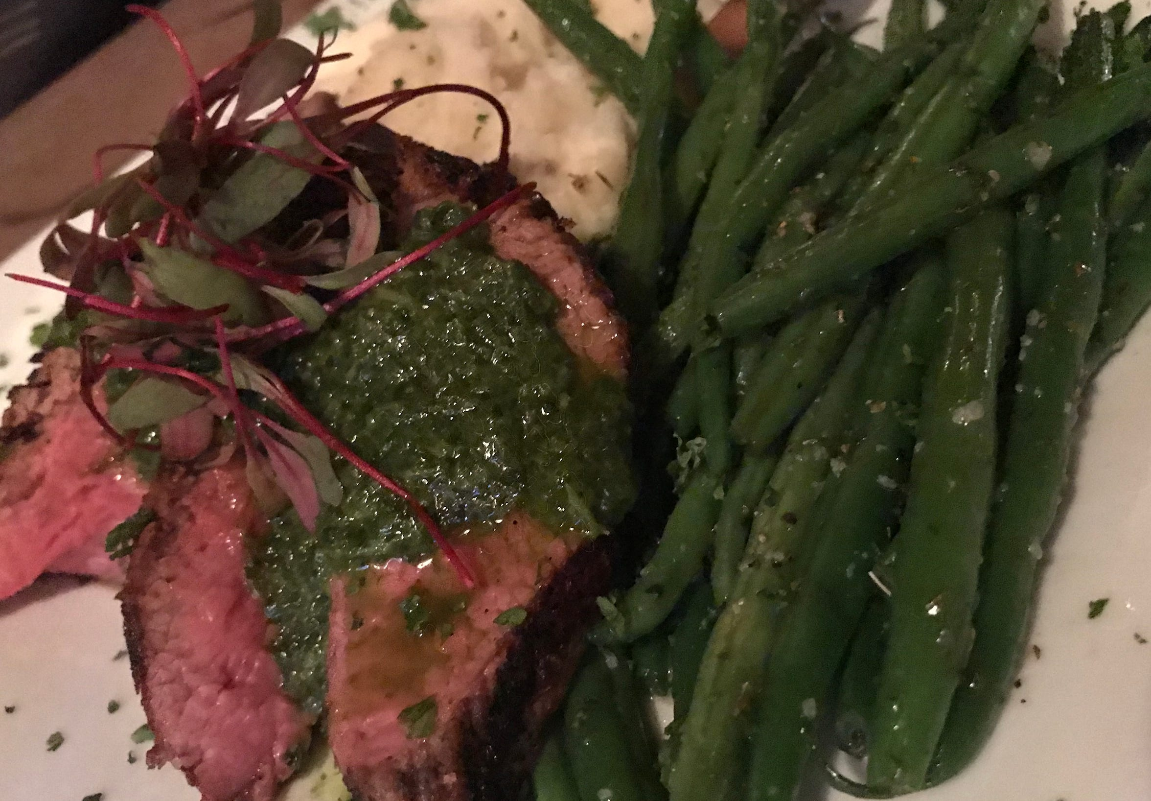 Many of the dishes at the Noble, 704 S. Second St., are daily specials, such as this bistro steak with chimichurri, green beans and mashed potatoes.