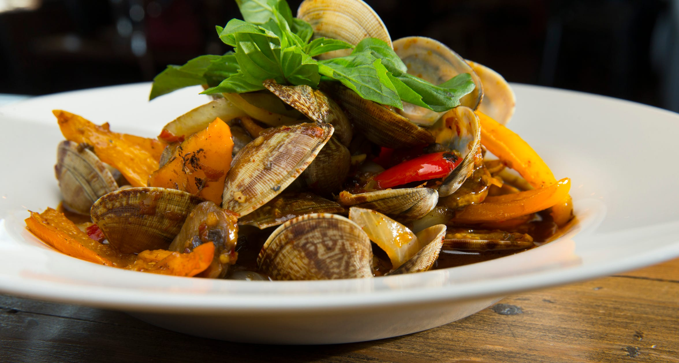 Pad hoy line at  AppeThai, 3900 W. Brown Deer Road in Brown Deer, is made with sautéed Little Neck clams, onion, bell pepper, fresh chile, garlic, basil and white wine sauce.