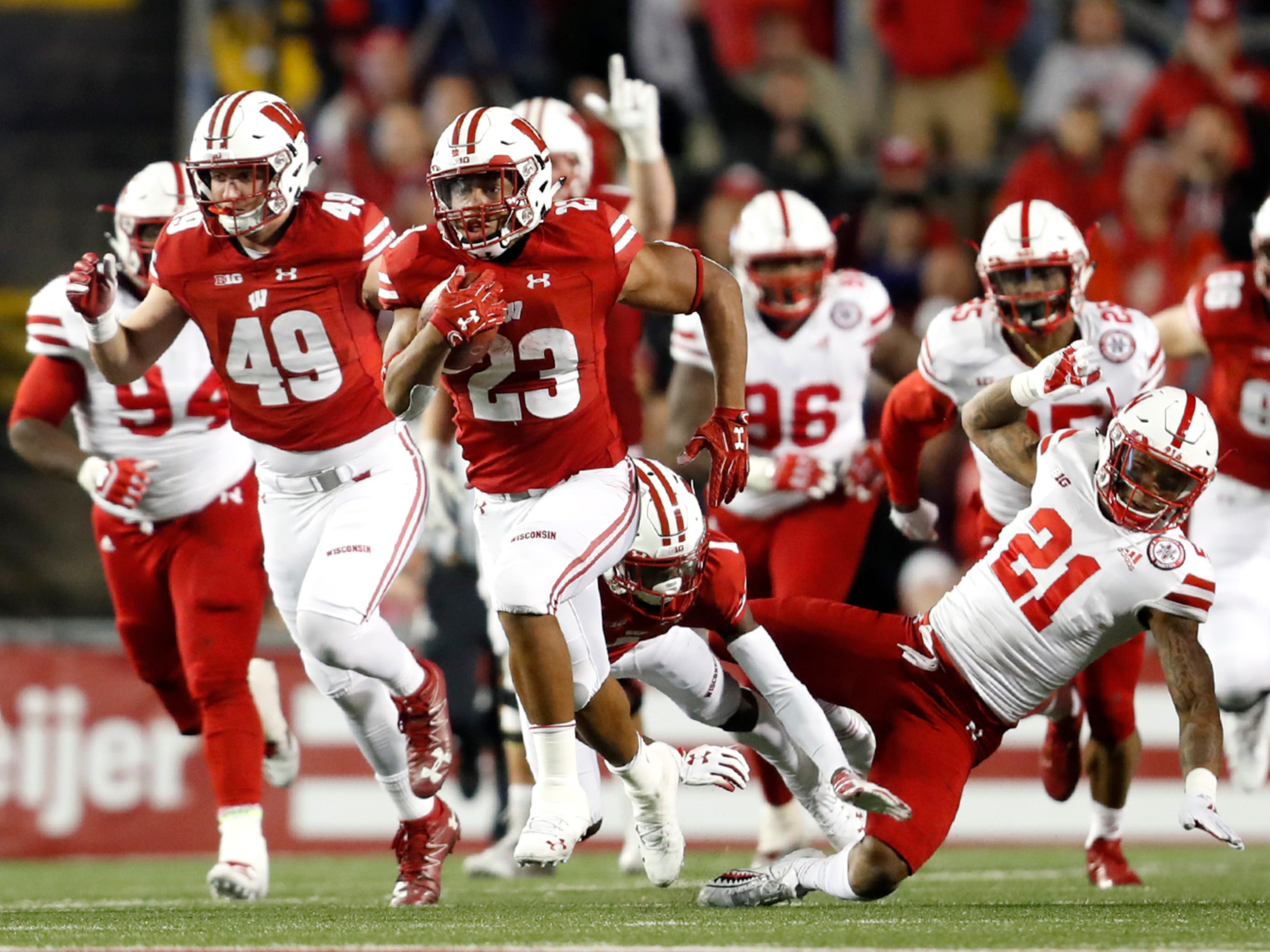 Wisconsin running back Jonathan Taylor is off to the races as he leaves Nebraska's defense in his wake on an 88-yard touchdown run in the fourth quarter Saturday night.