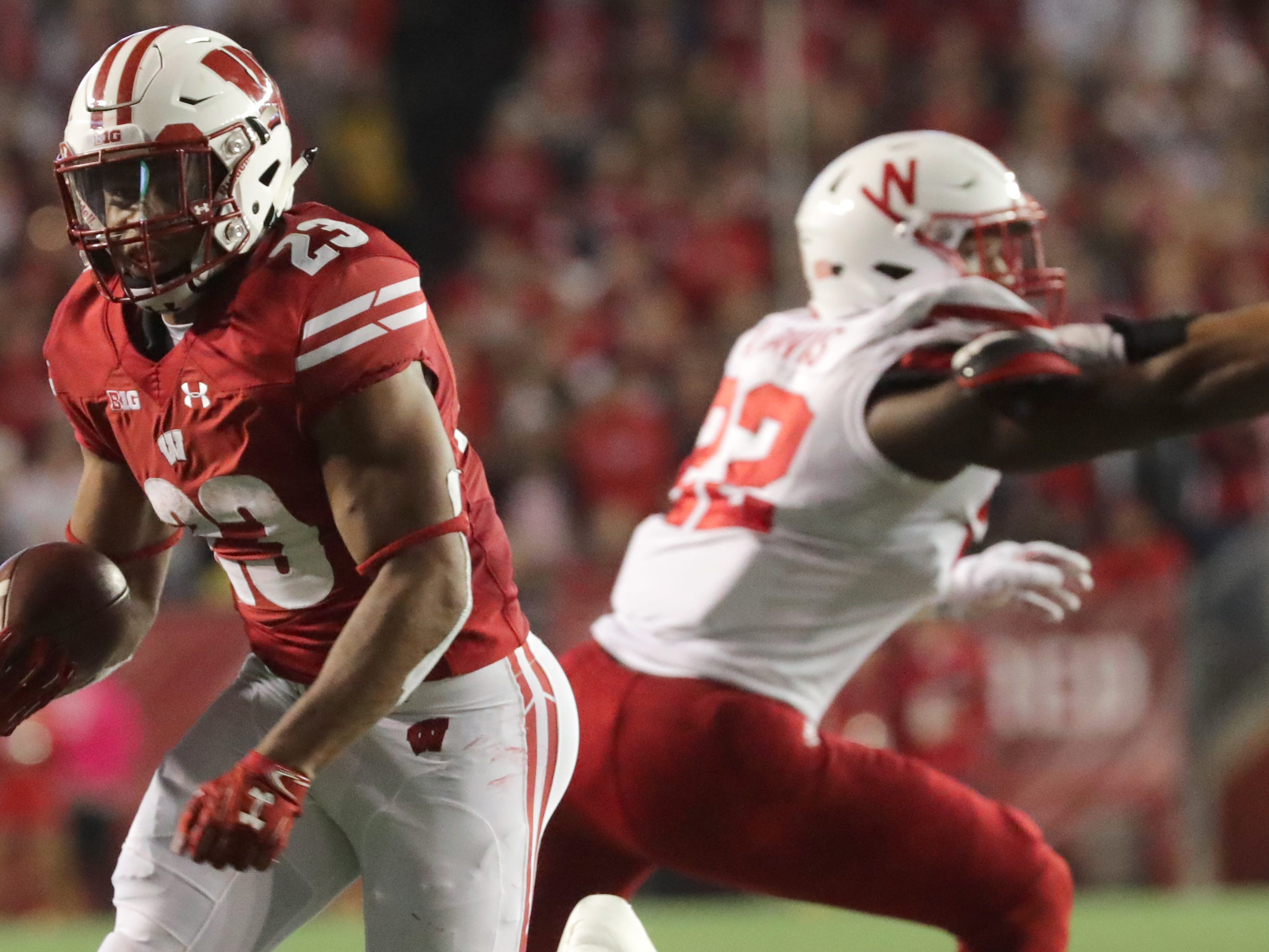 Jonathan Taylor of Wisconsin for a 21-yard touchdown run against Nebraska on Saturday night.