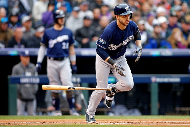 Ryan Braun singles and advances Christian Yelich to third base in the first inning.