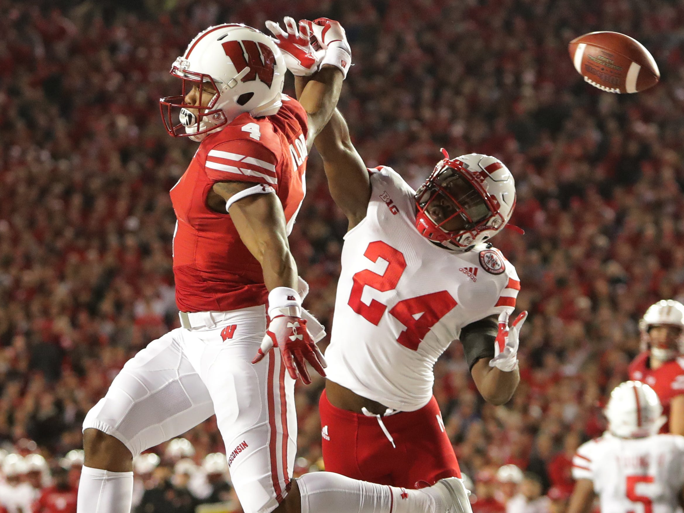 A pass from UW quarterback Alex Hornibrook sails well behind A.j. Taylor in the end zone on third down, forcing the Badgers to settle for a field goal during the second quarter against Nebraska on Saturday night.