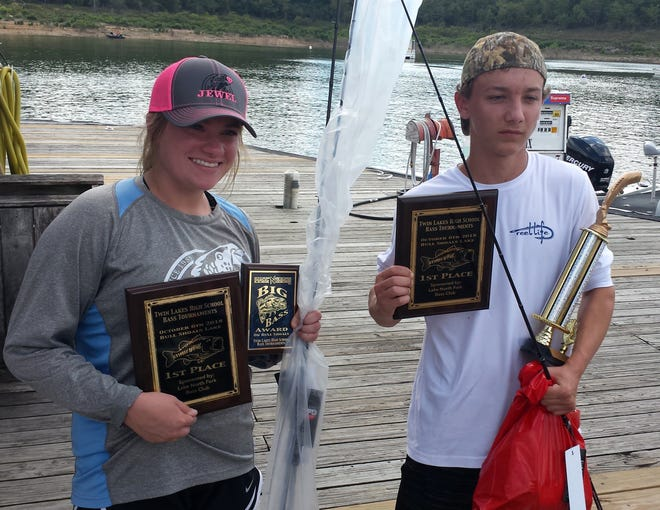 Mountain Home's Courtney Barron and Lance Lee won the Twin Lakes high school bass tournament on Bull Shoals Lake on Saturday.