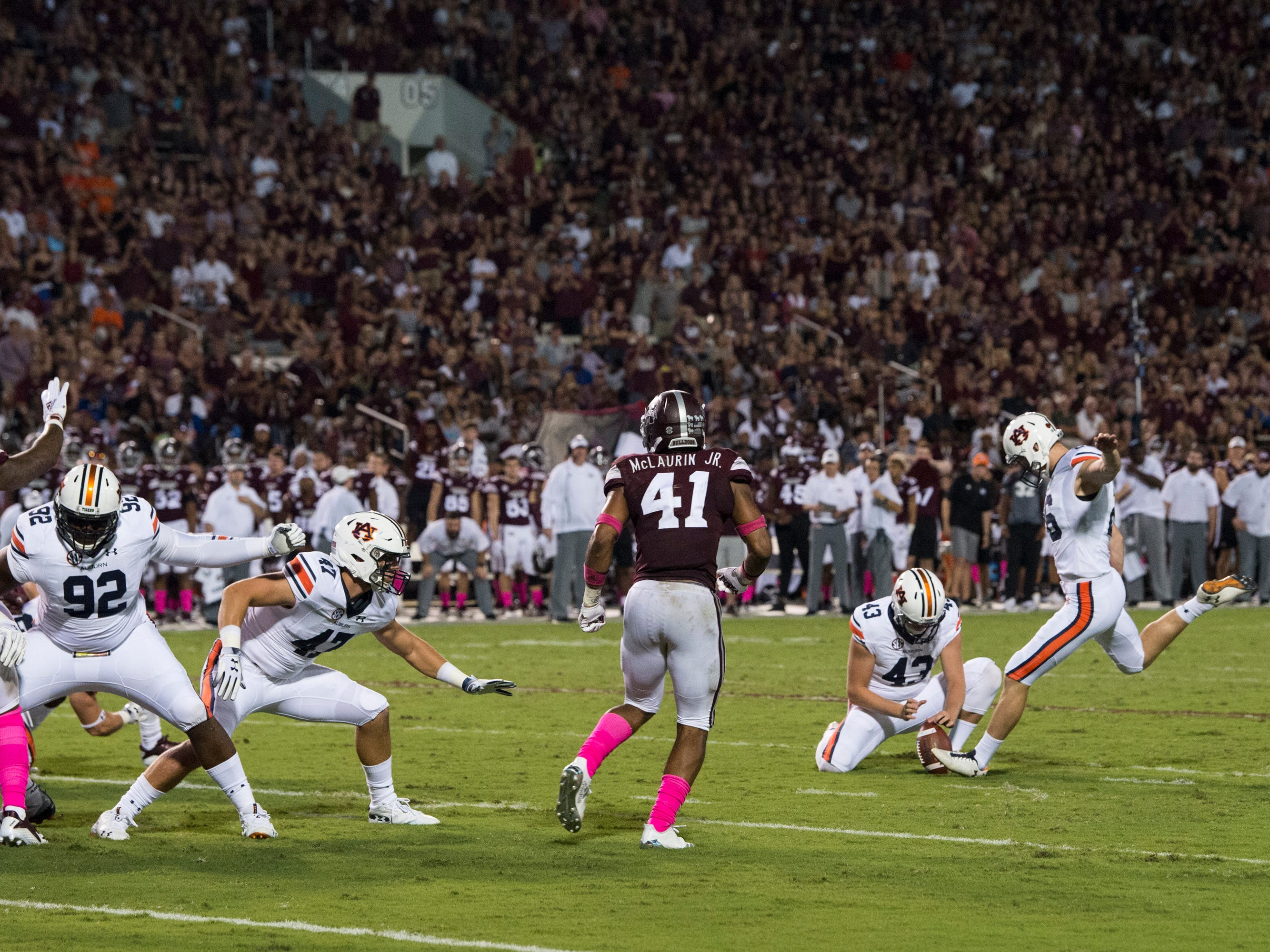 Auburn's Anders Carlson (26) kicks a field goal against Mississippi State at Davis Wade Stadium in Starkville, Miss., on Saturday, Oct. 6, 2018. Mississippi State defeated Auburn 23-9.