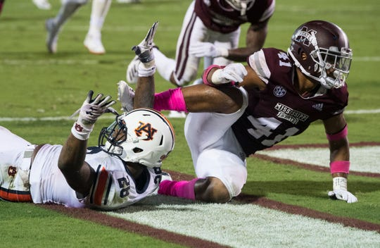 Auburn's JaTarvious Whitlow (28) calls for a touchdown after fumbling the ball during a attempted dive into the end zone at Davis Wade Stadium in Starkville, Miss., on Saturday, Oct. 6, 2018. Mississippi State defeated Auburn 23-9.