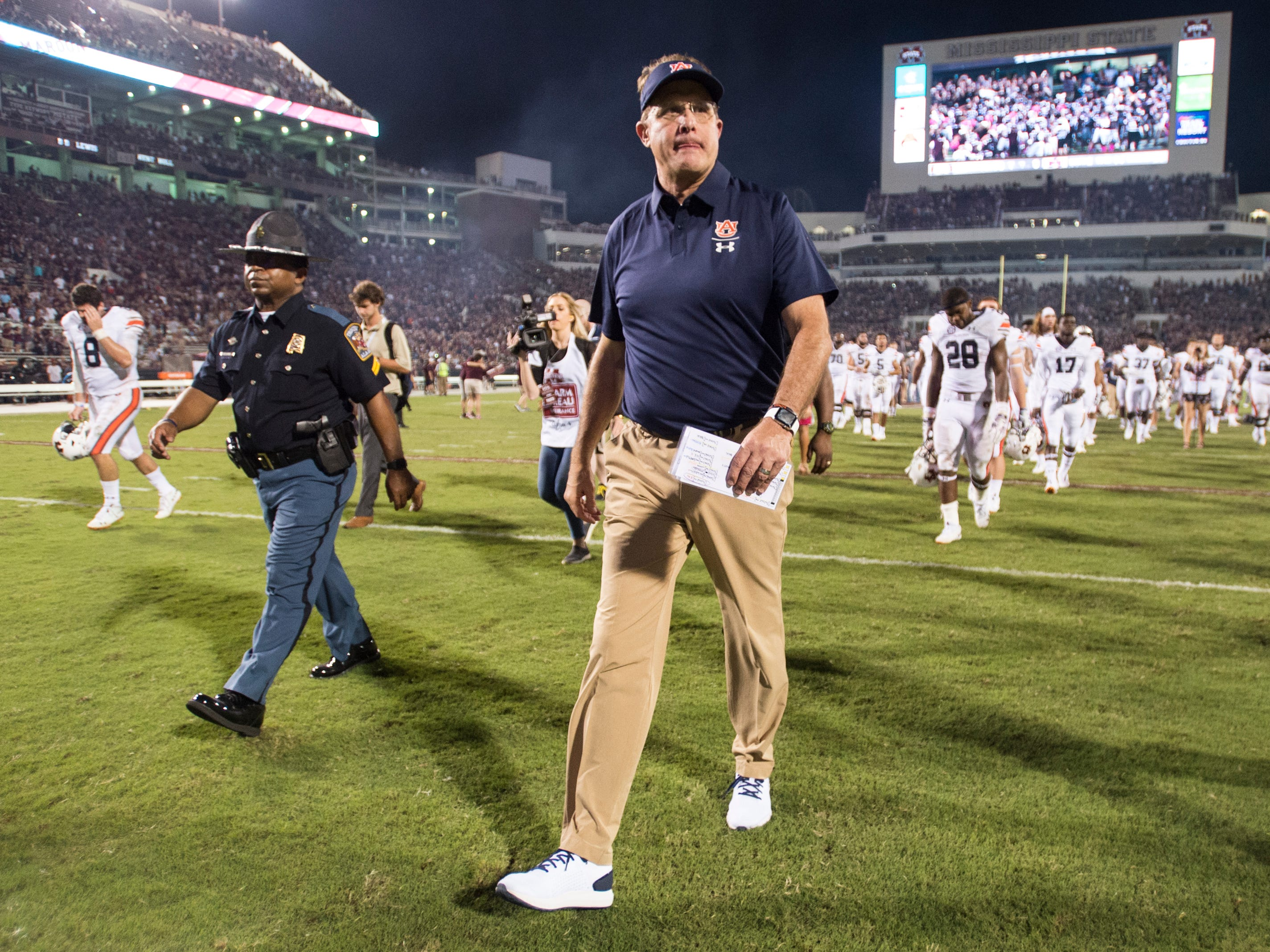 Auburn head coach Gus Malzahn walks off the field after the game at Davis Wade Stadium in Starkville, Miss., on Saturday, Oct. 6, 2018. Mississippi State defeated Auburn 23-9.