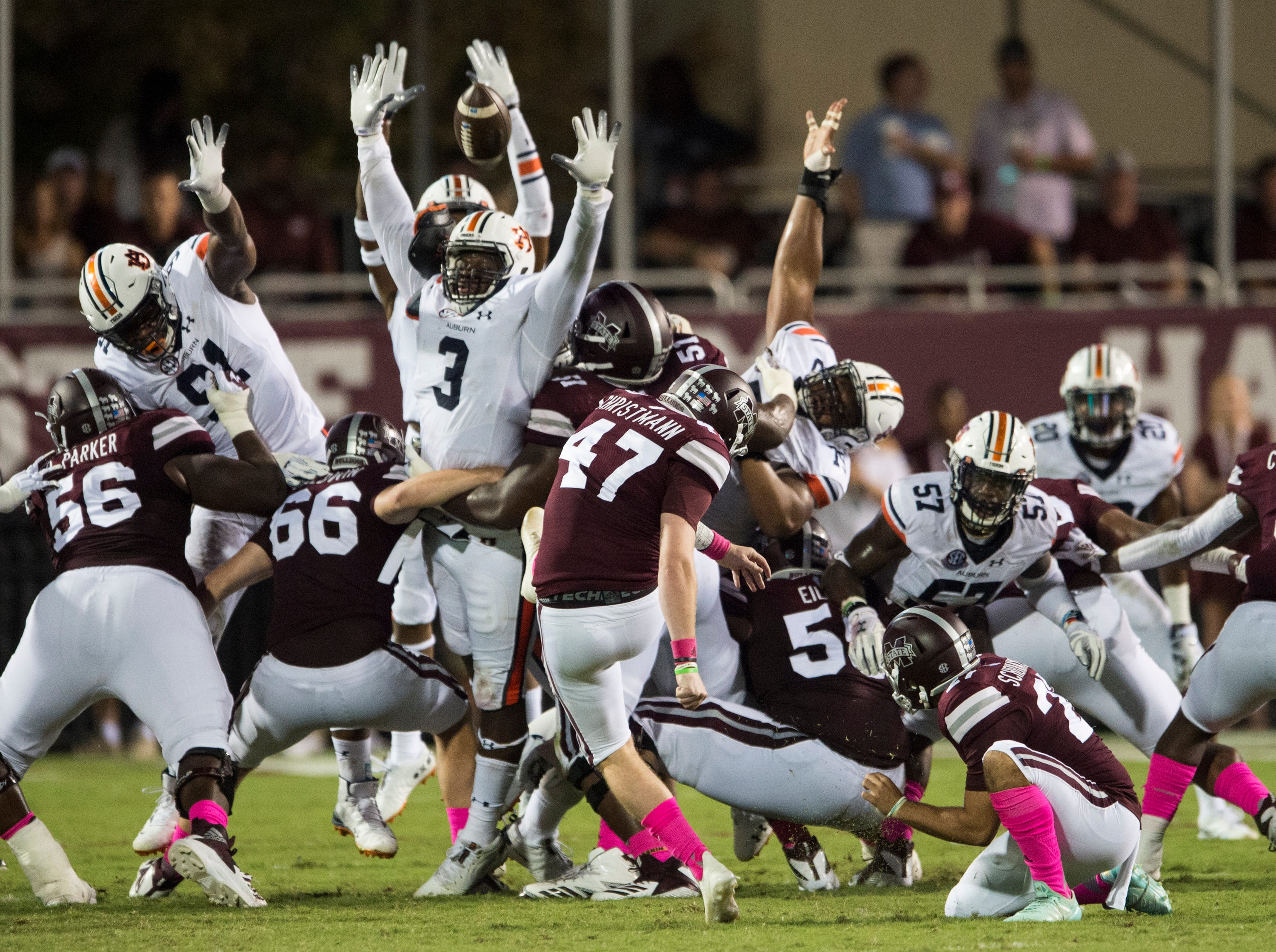 Auburn's defense attempts to block a Mississippi State's Jace Christmann (47) field goal at Davis Wade Stadium in Starkville, Miss., on Saturday, Oct. 6, 2018. Mississippi State leads Auburn 13-3 at halftime.