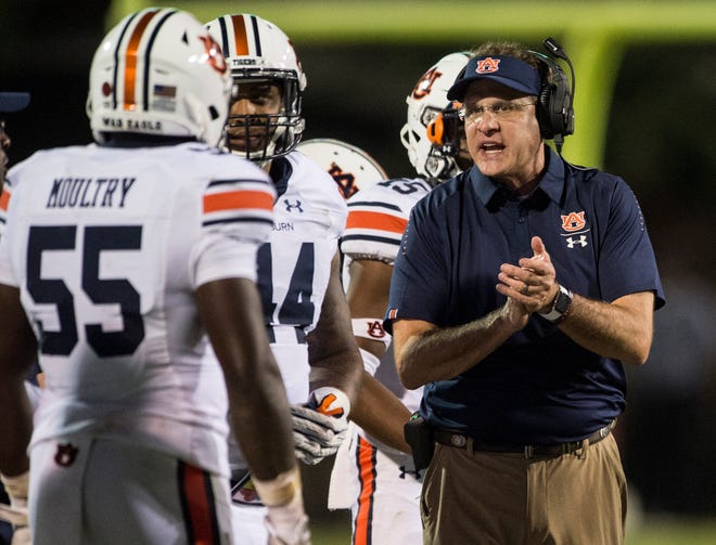 Auburn head coach Gus Malzahn cheers on his team after a fumble on the goal line against Mississippi State at Davis Wade Stadium in Starkville, Miss., on Saturday, Oct. 6, 2018. Mississippi State defeated Auburn 23-9.
