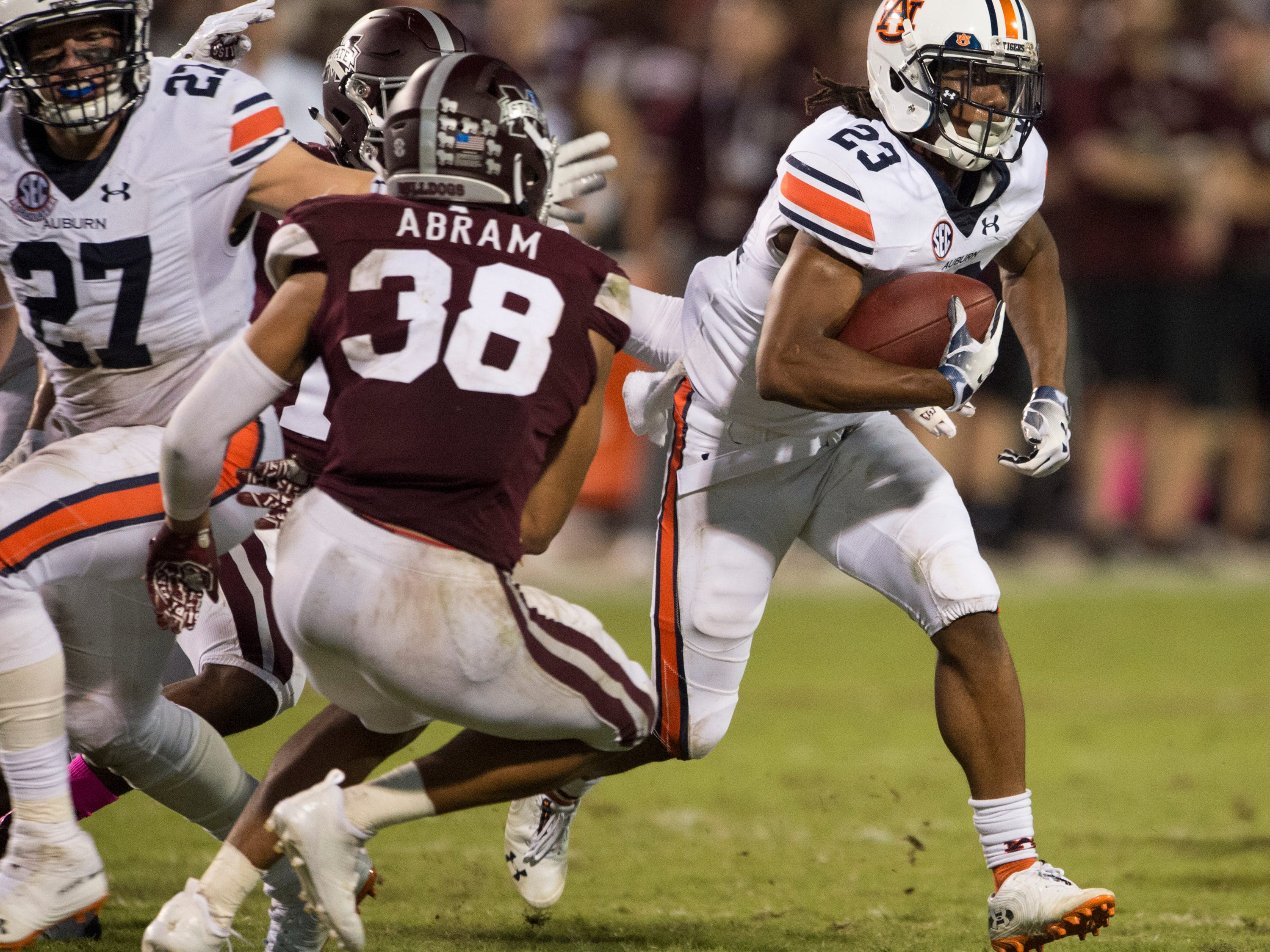 Auburn's Ryan Davis (23) runs the ball down the field against Mississippi State at Davis Wade Stadium in Starkville, Miss., on Saturday, Oct. 6, 2018. Mississippi State defeated Auburn 23-9.