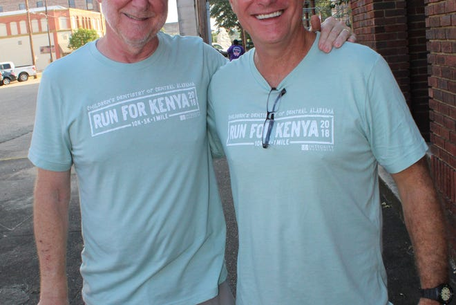 """Dr. Alan Hicks, left, and Dallas County District Judge Bob Armstrong were among  hundreds supporting the annual """"Run for Kenya"""" fund-raiser event Saturday in Selma."""