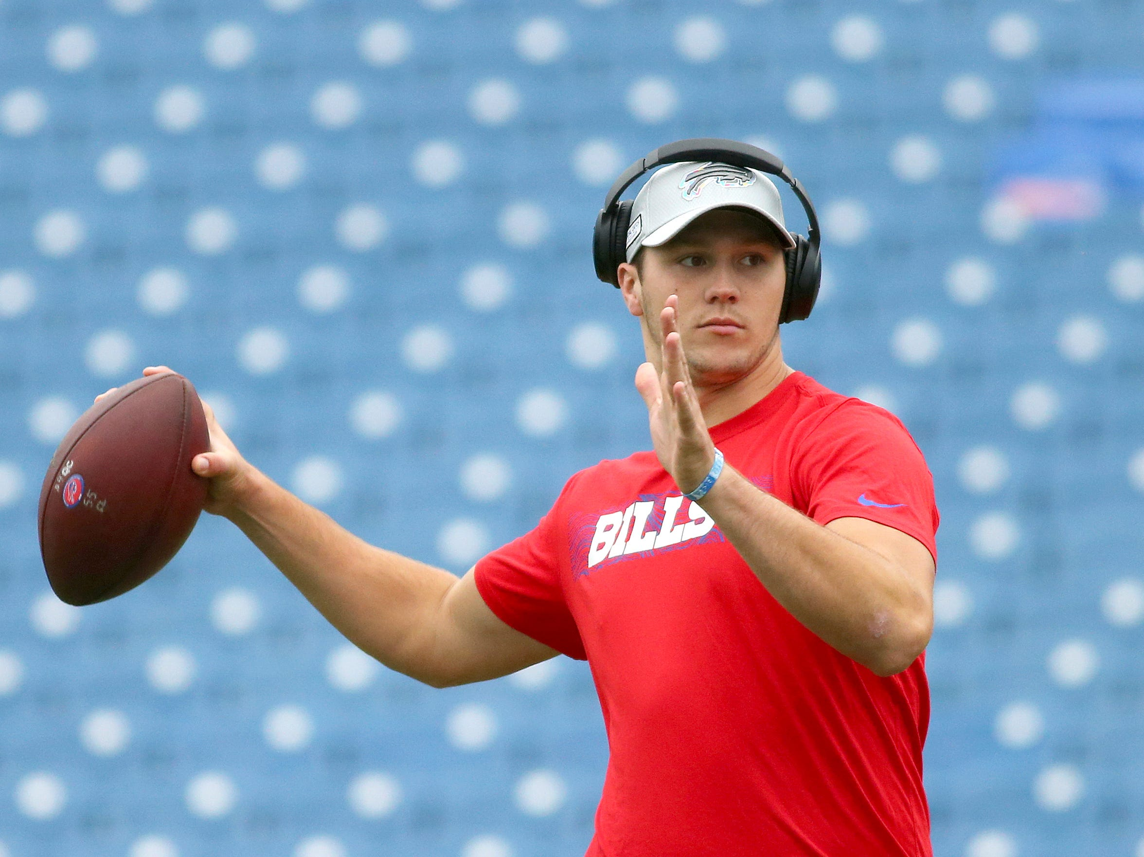 Buffalo Bills quarterback Josh Allen works out prior to an NFL football game against the Tennessee Titans, Sunday, Oct. 7, 2018, in Orchard Park, N.Y. (AP Photo/Jeffrey T. Barnes)