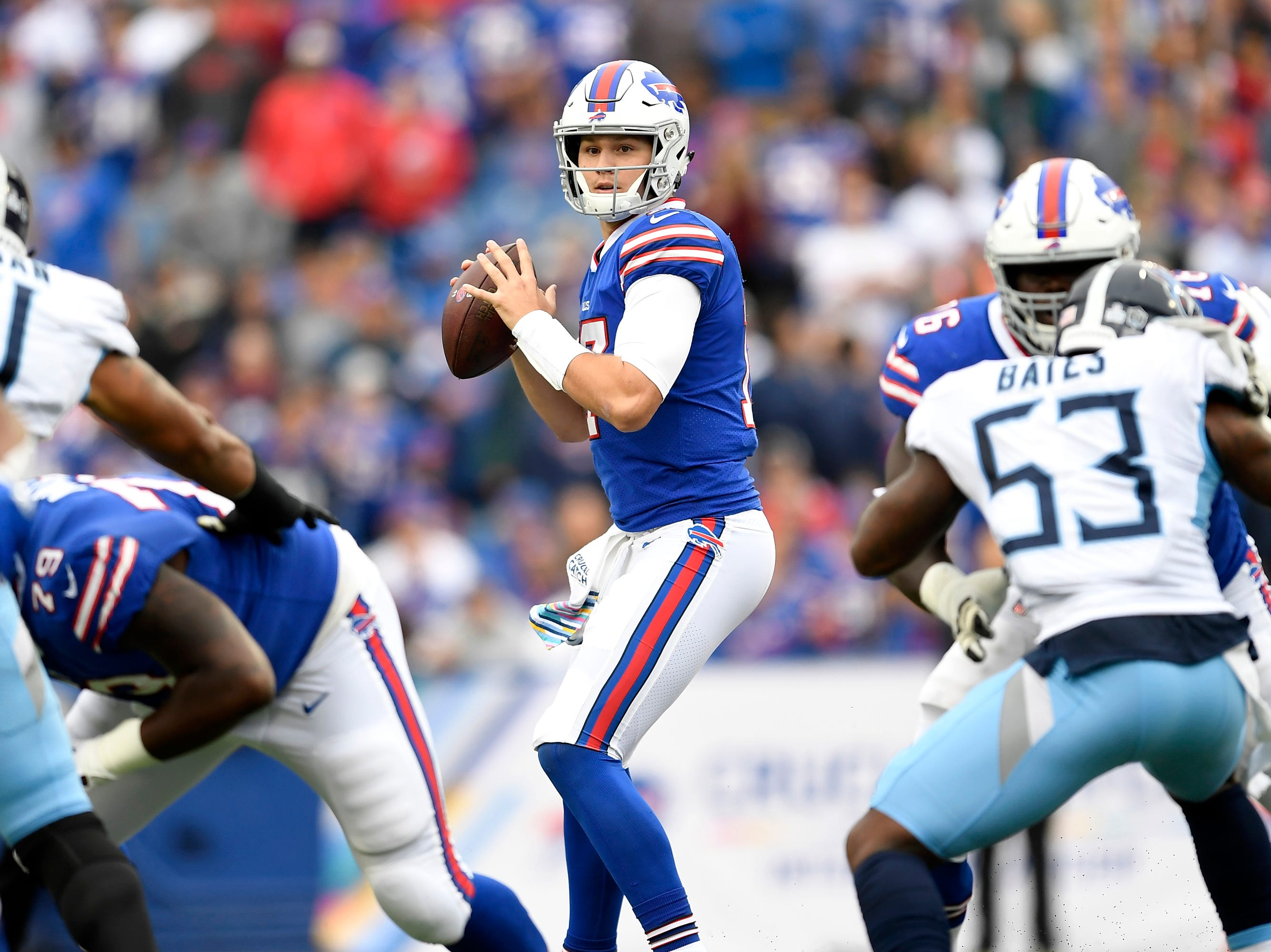 Buffalo Bills quarterback Josh Allen looks to pass against the Tennessee Titans during the first half of an NFL football game, Sunday, Oct. 7, 2018, in Orchard Park, N.Y.