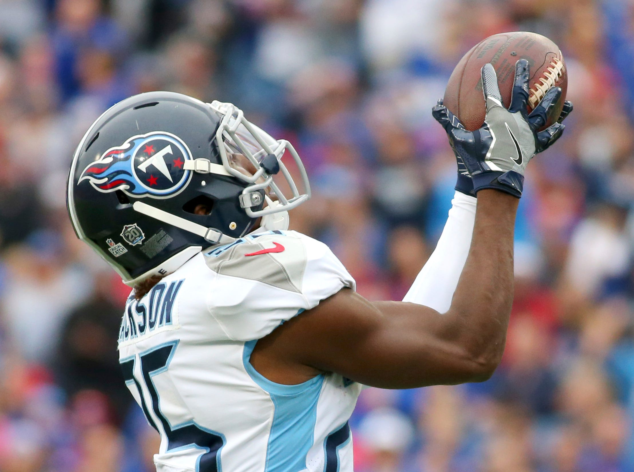 Tennessee Titans cornerback Adoree' Jackson intercepts a pass from Buffalo Bills quarterback Josh Allen during the second half of an NFL football game, Sunday, Oct. 7, 2018, in Orchard Park, N.Y.