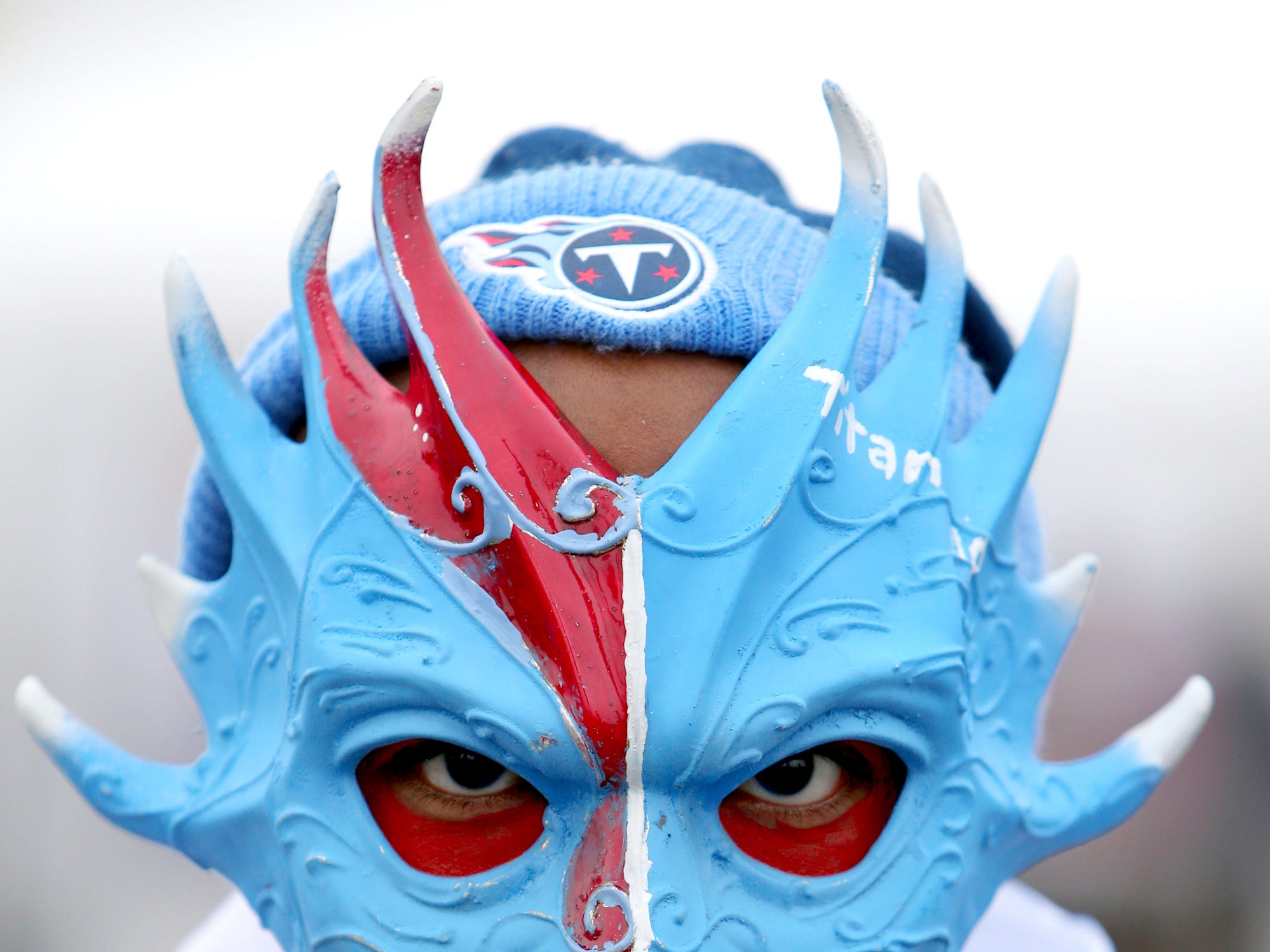 Jarremy Gooden of Nashville, Tenn., poses for a photograph prior to an NFL football game between the Buffalo Bills and the Tennessee Titans, Sunday, Oct. 7, 2018, in Orchard Park, N.Y. (AP Photo/Jeffrey T. Barnes)