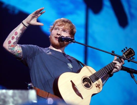 Ed Sheeran performs at Nissan Stadium Saturday October 6, 2018.