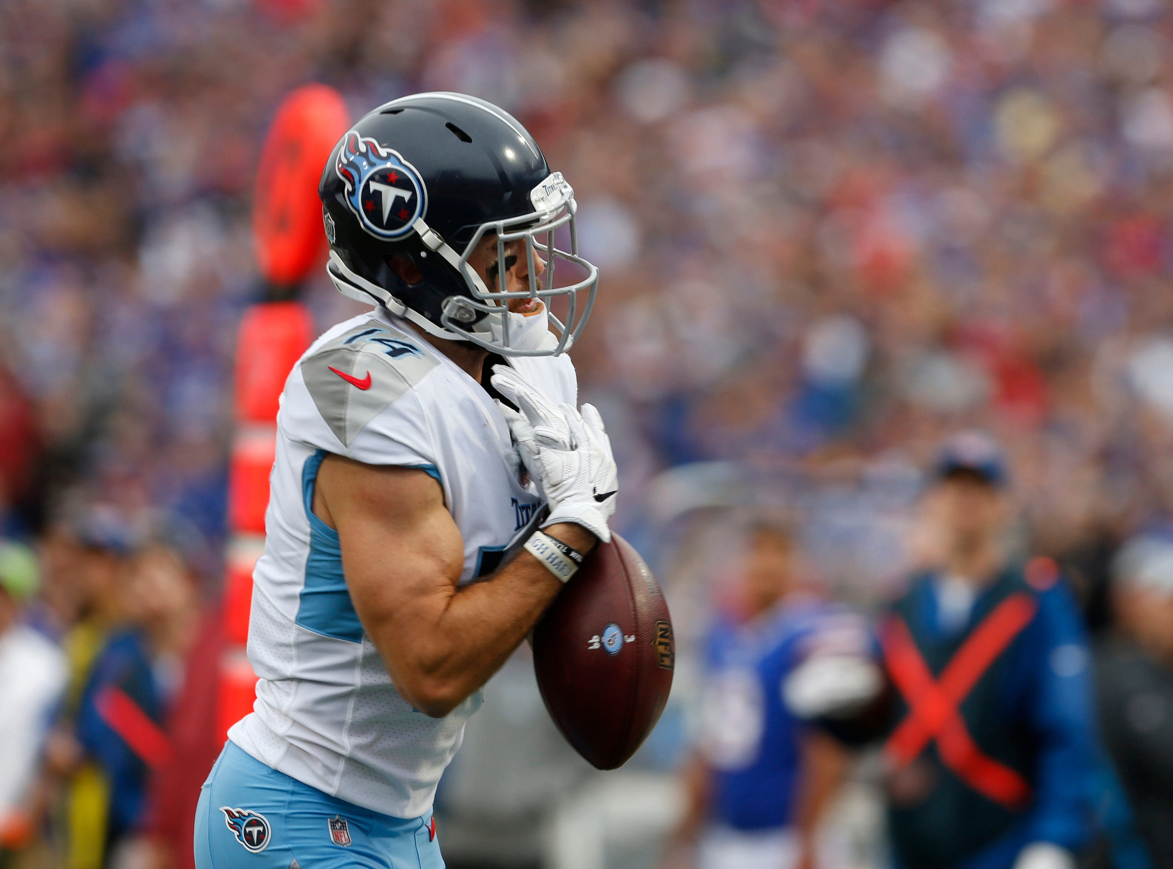 Worst play: Nick Williams' drop vs. Bills --Tennessee Titans wide receiver Nick Williams (14) drops a pass in the end zone during the second half against the Buffalo Bills at New Era Field.