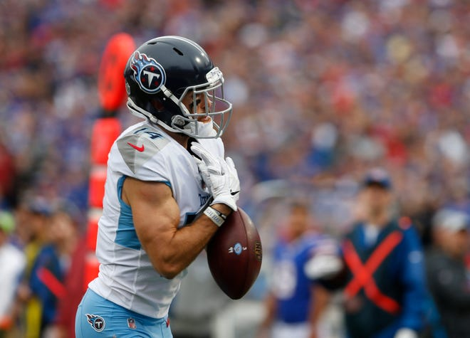 Titans wide receiver Nick Williams drops a pass near the end zone during the second half Sunday.