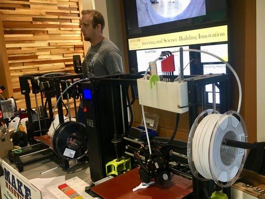 Marcus Young talks about 3D printing at the Nashville Mini Maker Faire at Vanderbilt University on Sunday, Oct. 7, 2018