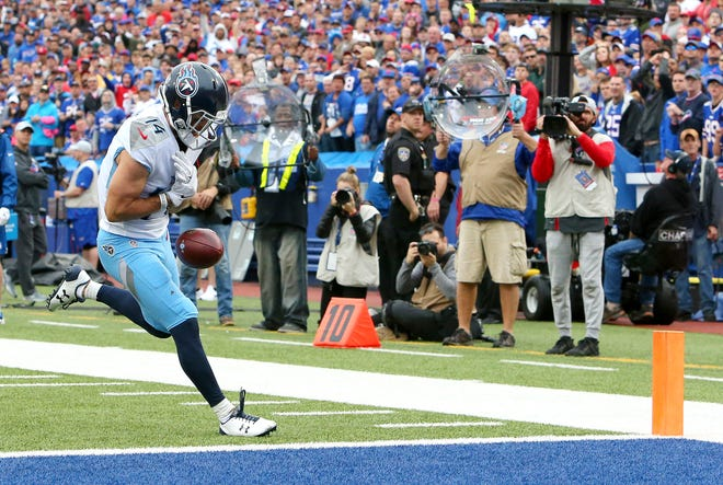 Titans wide receiver Nick Williams drops a pass from quarterback Marcus Mariota near the end zone during Tennessee's loss to the Buffalo Bills on Sunday.