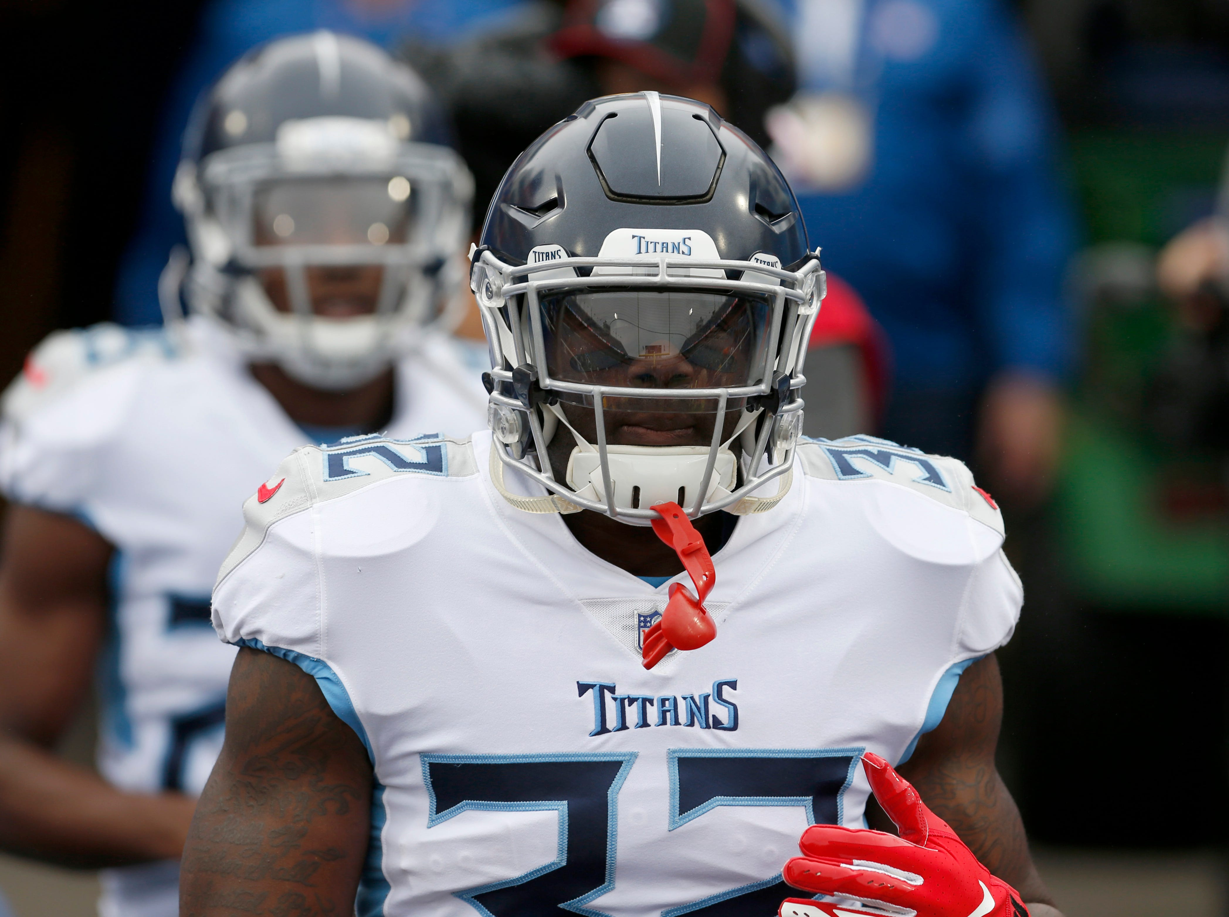Oct 7, 2018; Orchard Park, NY, USA; Tennessee Titans running back David Fluellen (32) makes his way to the field before a game against the Buffalo Bills at New Era Field.