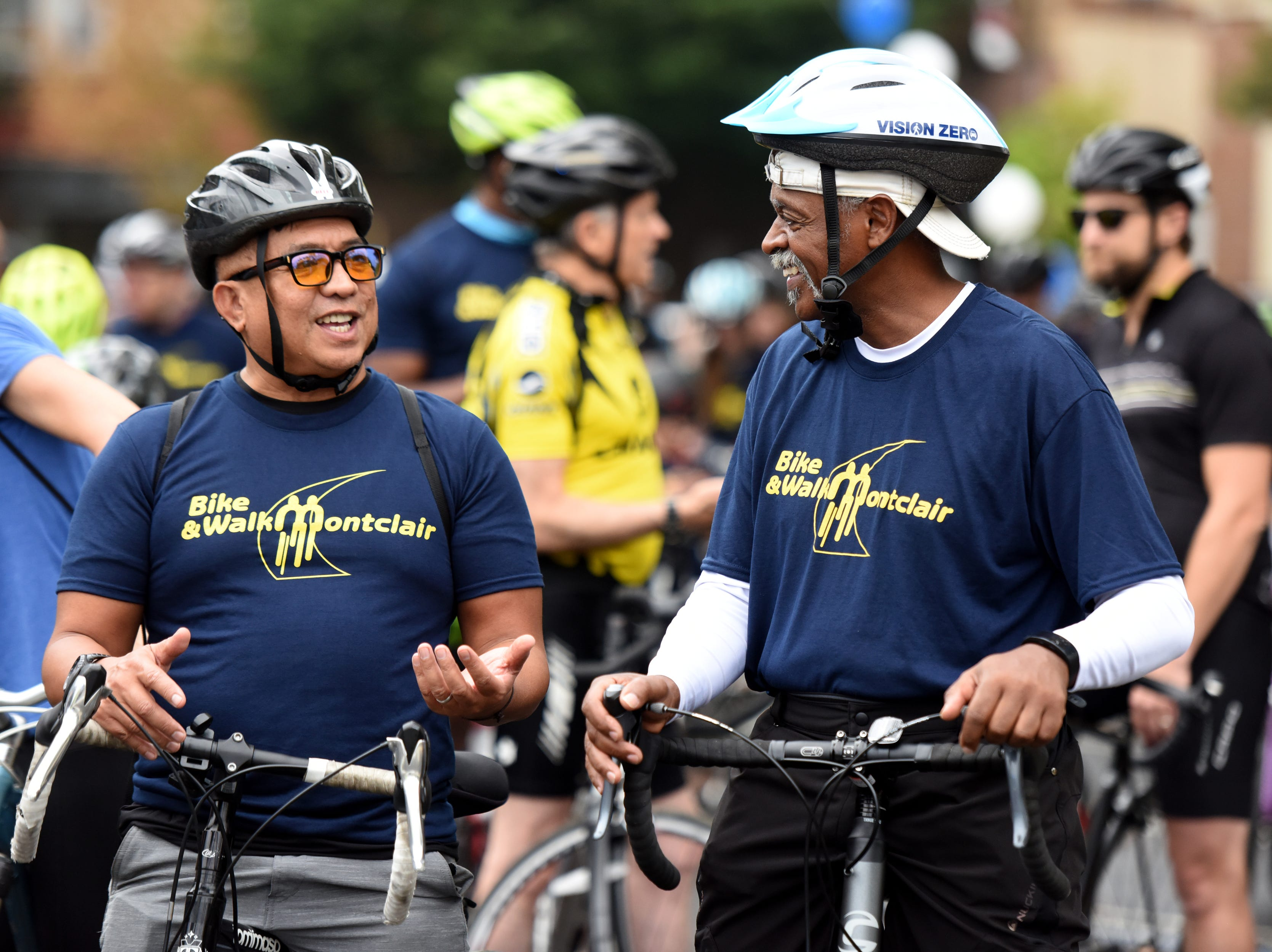 The Tour de Montclair a family-friendly bike ride with 6- and 12- mile options was held on Sunday, October 7, 2018. Cyclists leave for the ride next to Crane Park. Anthony Villanuva and Reynard Morrell of Newark, wait at the start line for the beginning of the ride.