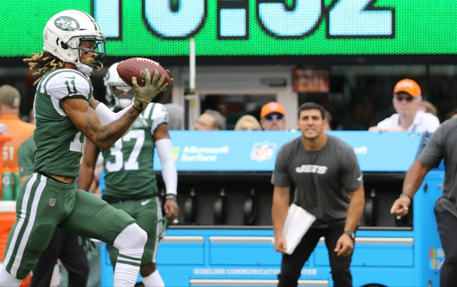 Robby Anderson makes a catch which he ran for a touchdown to put the Jets up in the second quarter. Sunday, October 7, 2018