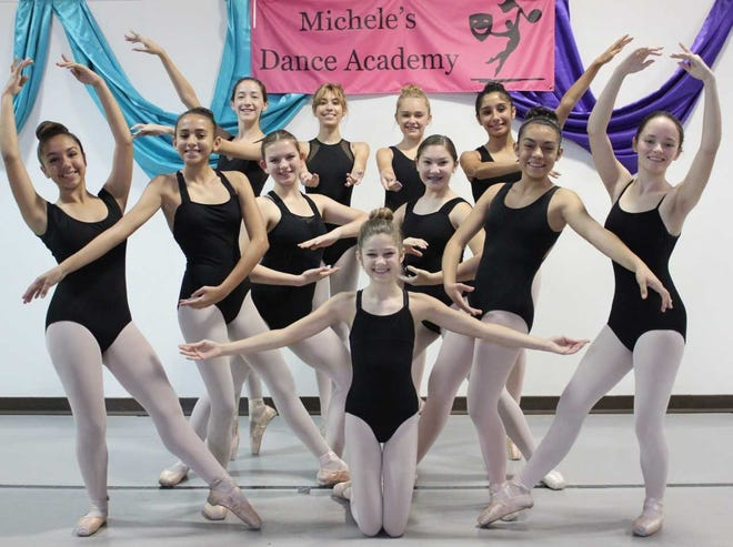 """TheLas Cruces Chamber Ballet welcomesitsnewest members. Top row, from left:Callista Wilcox, Aly Bower, Caelee Jimerson andNadia Samaniego. Middle row, from left:Makayla Zamora, Camille Lopez, Amber Hernandez, Katie Jackson, Juliana Rodriguez andEmma Jackson. Center:Chaley Cartwright. The ballet is currently rehearsing for the 35th annual production of the """"Nutcracker Ballet."""""""
