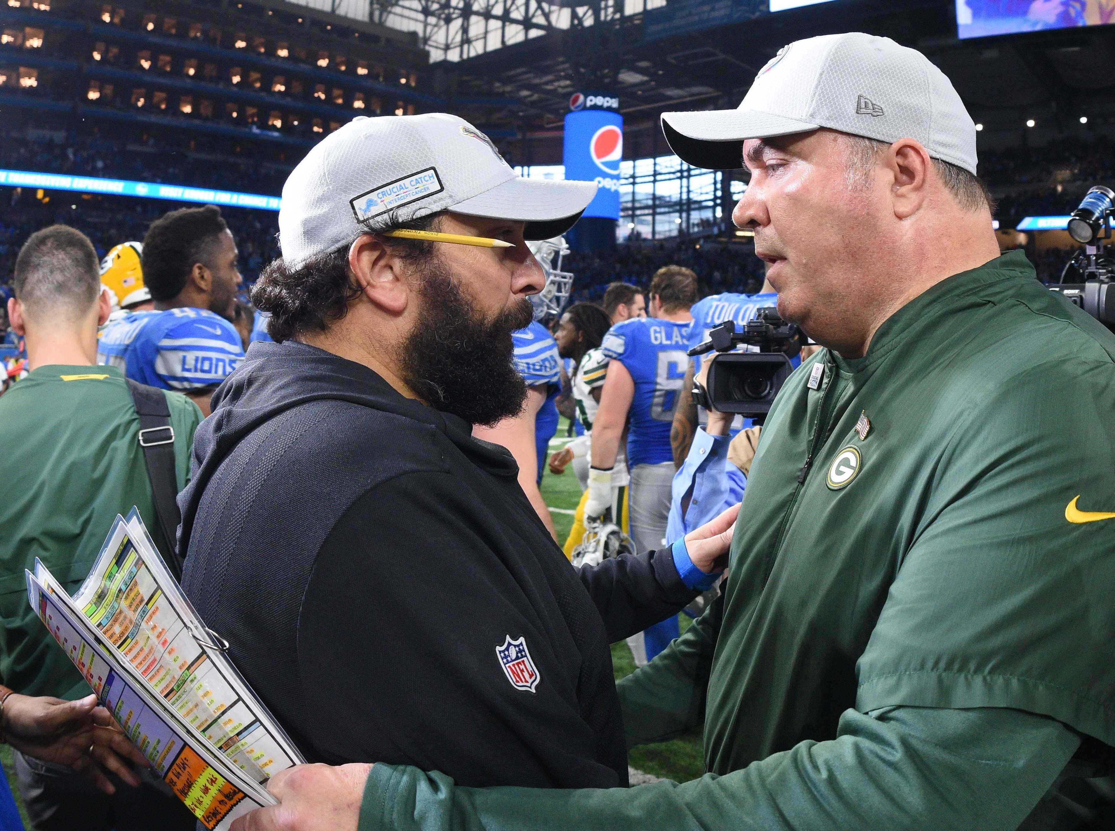 Oct 7, 2018; Detroit, MI, USA; Detroit Lions head coach Matt Patricia and Green Bay Packers head coach Mike McCarthy after the game at Ford Field. Mandatory Credit: Tim Fuller-USA TODAY Sports