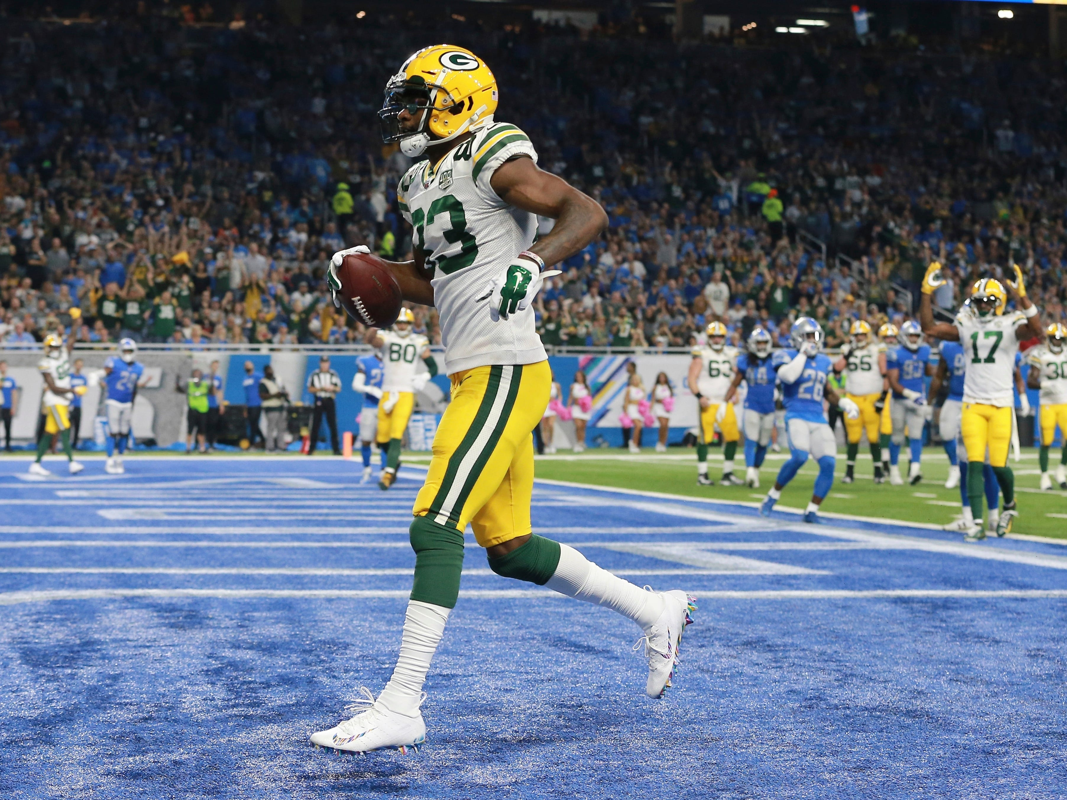 Green Bay Packers wide receiver Marquez Valdes-Scantling runs into the end zone for a touchdown during the second half of an NFL football game against the Detroit Lions, Sunday, Oct. 7, 2018, in Detroit.
