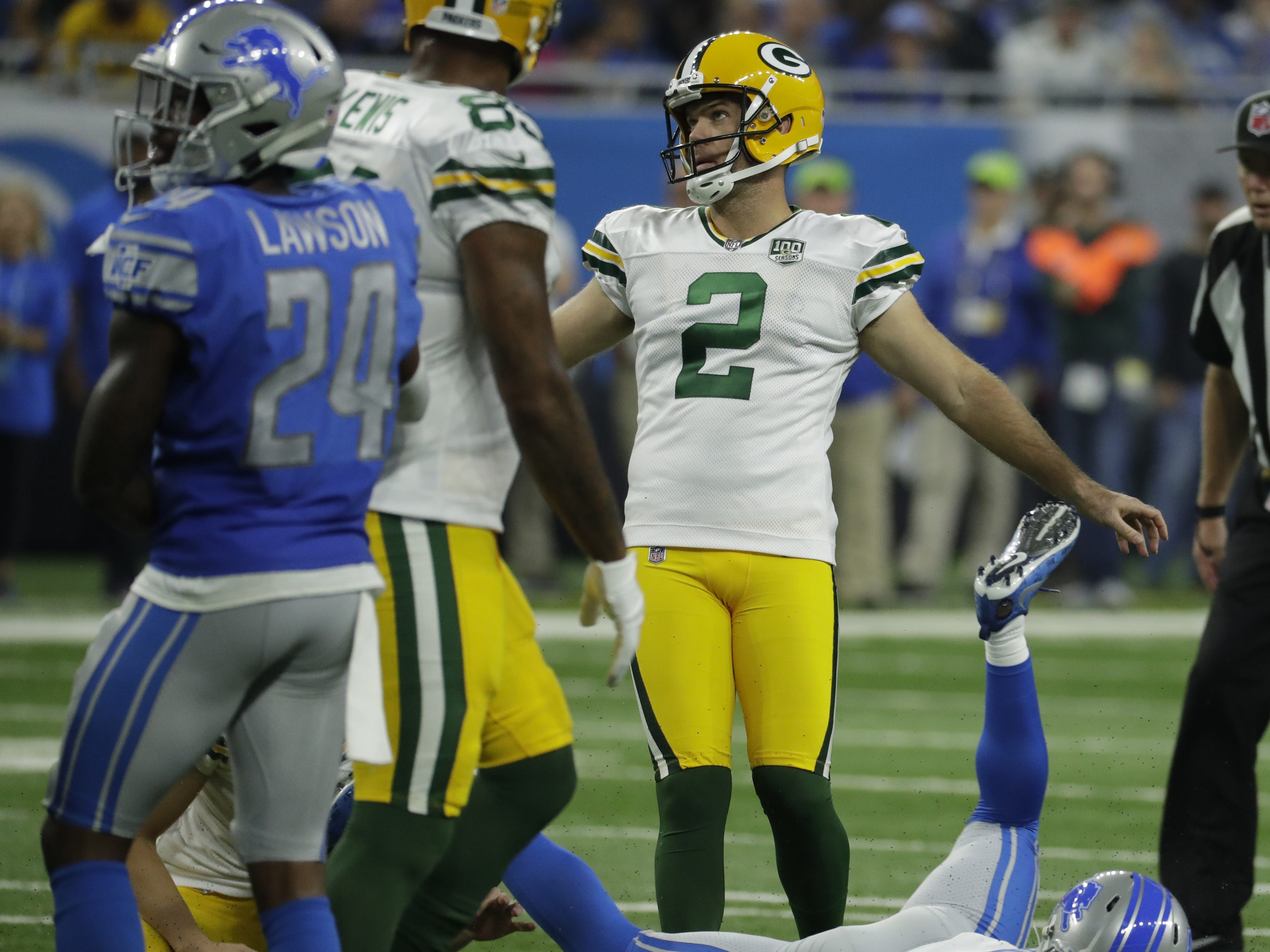 Green Bay Packers kicker Mason Crosby (2) misses his second field goal during the Green Bay Packers vs. Detroit Lions NFL game at Ford Field, Detroit, Sunday, October 7, 2018.
