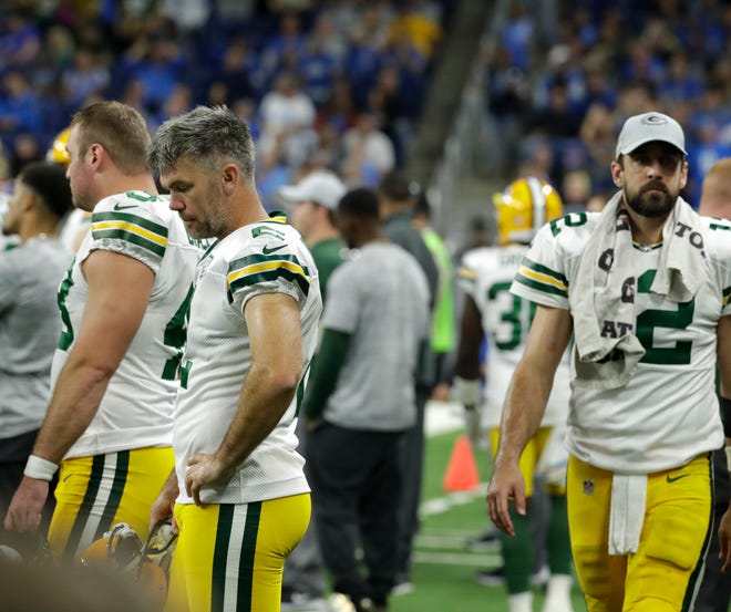 Green Bay Packers kicker Mason Crosby (2) looks subdued at the end of the gamer during the Green Bay Packers 31-23 loss to the Detroit Lions at Ford Field, Detroit, Sunday, October 7, 2018.   Rick Wood/Milwaukee Journal Sentinel. USA