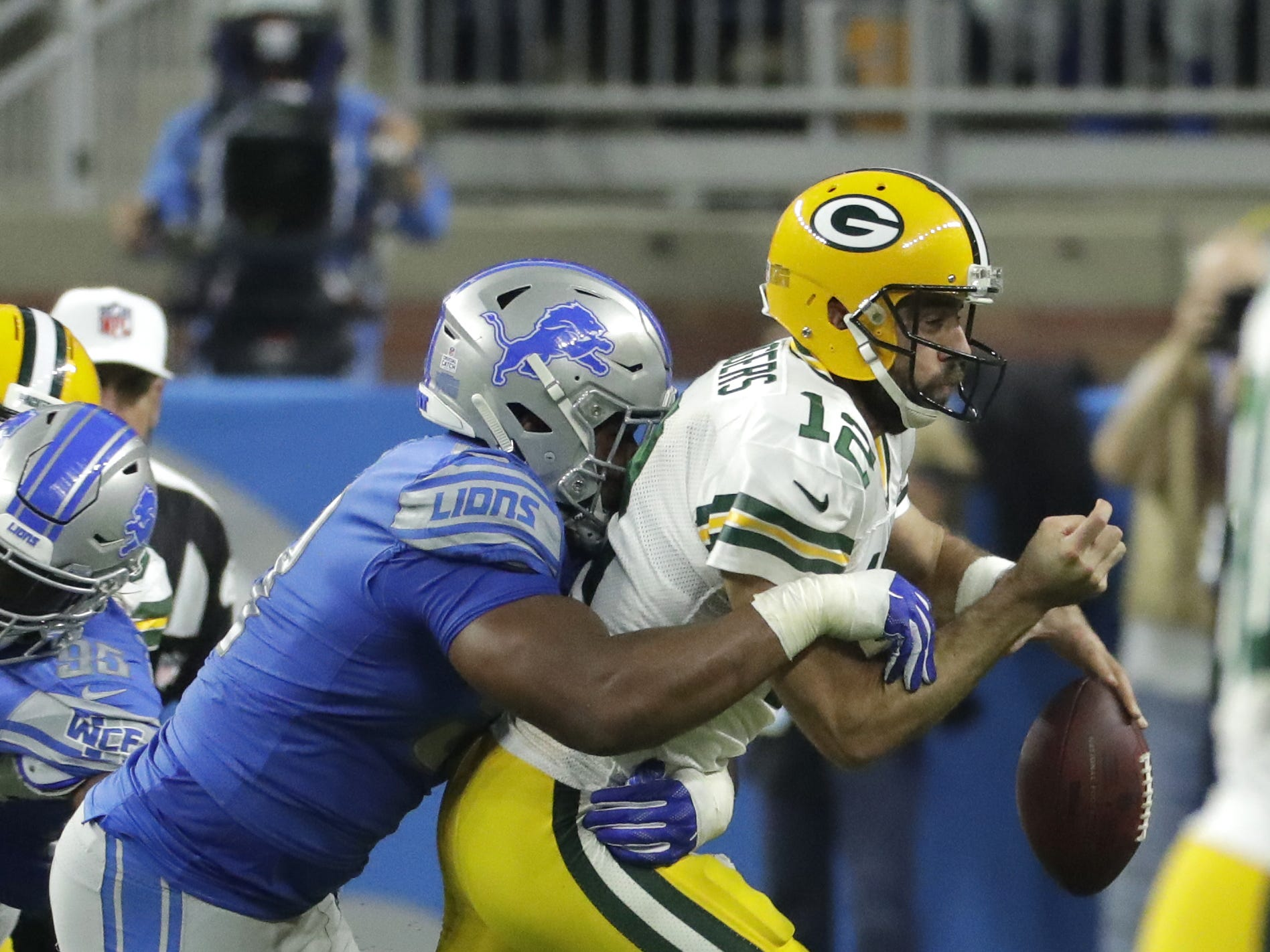 during the Green Bay Packers vs. Detroit Lions NFL game at Ford Field, Detroit, Sunday, October 7, 2018.