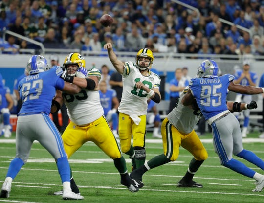 Green Bay Packers quarterback Aaron Rodgers (12) unloads a touchdown pass to Green Bay Packers wide receiver Davante Adams (17) in the second half during the Green Bay Packers 31-23 loss to the Detroit Lions at Ford Field, Detroit, Sunday, October 7, 2018.   Rick Wood/Milwaukee Journal Sentinel. USA