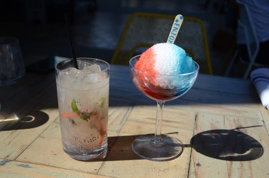 The Garden Party cocktail (left) and All American Snowcone at Wexler's Deli in Palm Springs