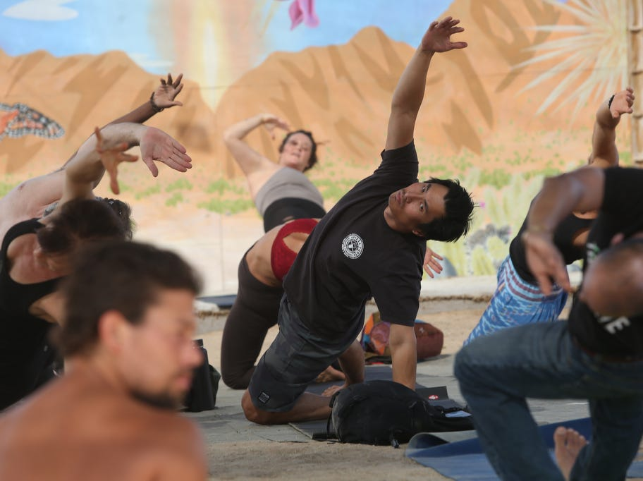 Yoga at the Joshua Tree Music Festival on Saturday October 6, 2018. The music and arts festival last through the weekend.