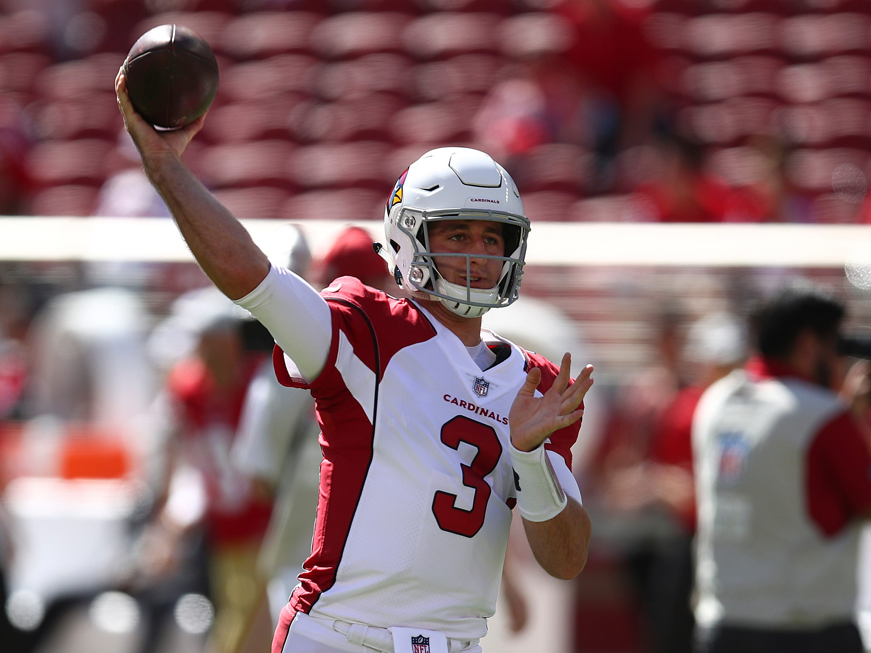 Arizona Cardinals quarterback Josh Rosen (3) warms up before an NFL football game against the San Francisco 49ers in Santa Clara, Calif., Sunday, Oct. 7, 2018.
