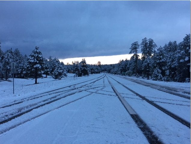 Snowfall on S.R. 87 near Long Valley in northern Arizona, Oct. 7, 2018.